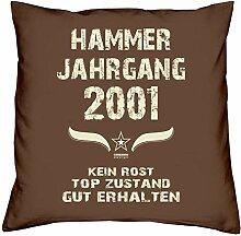 Hammer Jahrgang 2001 Sprüche Kissen 40x40 für