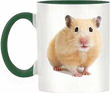 Hamster Bild Design zweifarbige Becher mit dunklem Grün Griff & Innen