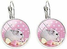Hamster-Clip-Ohrringe, Modeschmuck, Silberfarben,
