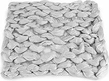 Hand Chunky gestrickte Decke dicke Merino Wolle Stricken Wolldecken Nadel Filzen Wollmatte Hand verknotete Shag Bereich Teppich Merino 100% reine Wolldecke Extreme stricken Mat Teppich(Hellgrau)