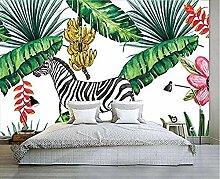 Hand gezeichnete grüne Pflanze Zebra Tapeten Wand