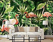 Hand gezeichnete tropische Pflanze Flamingo
