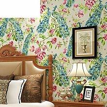 Hand-painted Pfau Tapete the Living Room TV Hintergrund Wall Tintenblau schwarze Tapete-D