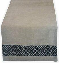 Handarbeit Leinen Tischläufer–Chippendale Stickerei Tisch Bettwäsche–beige grau, Tischläufer mit Schwarz Geometrische bestickt Muster, Textil, beige, Gray, 35x183 cm