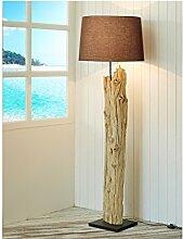 Handarbeit Treibholz-Lampe XL Höhe 175 cm | Stehleuchte Holzstamm Baumstamm Naturholz Lampenschirm Baumwolle braun | Standlampe Schwemmholz Holz Innenbeleuchtung Lampe E27 | Unika