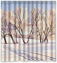 HANDBEMALT ländlichen Rind Muster gelb Polyester-Design-Wasserdicht Duschvorhang Badezimmer Deko 167,6x 182,9cm (167cm x 183cm), Polyester, E, 168 x 183 cm