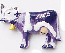Handbemalte Magnet Lila Kuh - Handgeschnitzter Holzmagnet zur Deko, Geschenkidee, Kinderzimmerdeko, Kindermagnet Schokoladenkuh, Kühlschrankmagne
