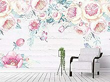 Handbemalte Pflanze Rosa Blume Schmetterling