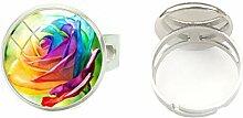 Handbemalter Ring aus Glas, handgefertigt, mit