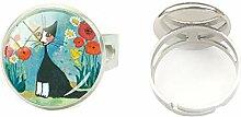 Handbemalter Ring aus Glas mit bunten