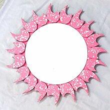 Handgefertigt Antik Holz hell pink weiß gepunktet Blätter Grenze dekorative Wand-Spiegel–43,2cm   Premium Wandtattoo Decor Akzente   Hind Kunsthandwerk (Mango Holz) (rund)