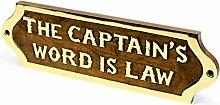 Handgefertigt aus Holz Bezeichnung & Titel Namensschild | Nautical Holz Plaque & Türschild Kinderzimmer | Captain 's Maritime Home Wand-Decor | NAGINA International