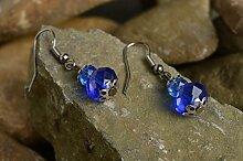 Handgefertigt Damen Ohrringe Accessoires fur Frauen Designer Schmuck dunkelblau