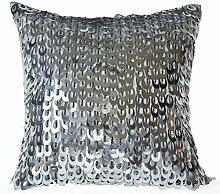 Handgefertigt Kissenhülle mit Metallic Pailletten Perlen–Silber Pailletten Kissen–Geschenke–Designer Kissen, grau, 45 x 45 cm