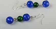 Handgefertigt Lange Ohrringe Schmuck Ohrhanger Frauen Geschenk in Blau