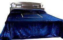 """Handgefertigt, luxuriös, Samt, Marineblau mit Stickerei, Pailletten, Gold Couture Tagesdecke im Luxe, Samt, Bettbezug für King Size Betten, Coverlet 110 X 96 """"(240 X 275 cm)"""