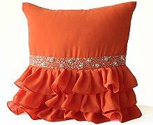 Handgefertigt Orange Kissenbezug mit Rüschen–Silber Pailletten Hand Stickerei Kissenbezug–Orange Georgette-Kissen Halskrause–Kissen für Schlafzimmer–Hochzeit Decor, orange, 45 x 45 cm