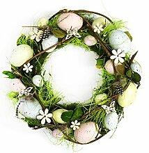 Handgefertigt Ostern Kranz Wandbehang Dekoration mit / Eier, Gras & Blumen - Rustikal Shabby Chic Stil