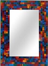 Handgefertigt rechteckig zum Aufhängen Spiegel aus ein Spektrum Rainbow Farbige Glas Mosaik Fliesen.