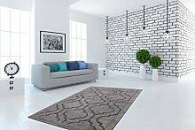 Handgefertigt Teppich Weich Waben Muster Modern Klassisch Viskose Silber Grau, Größe:80cm x 150cm