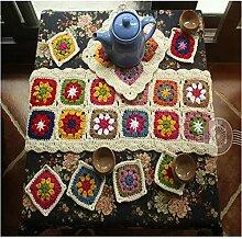 Handgefertigt Tischläufer und Untersetzer VS 8PCS Stricken Crochet Tischdecke, Weave Tischdecke Platzdeckchen Se