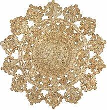 Handgefertigte geflochtene runde Naturfaser Jute Teppich, natur (150 cm Durchmesser, Banaras natürlich)