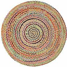 Handgefertigte geflochtene runde Naturfaser Jute Teppich, natur (120 cm Durchmesser, Fusion mehrfarbig)