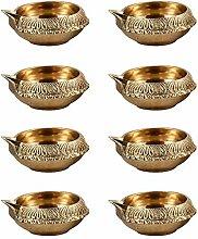 Handgefertigte indische Puja Messing-Öllampevon