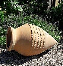 handgefertigte liegende terracotta Amphore, spitz, frostsicher, 60 cm, mediterrane Deko Garten Teich Beet, Vitex2
