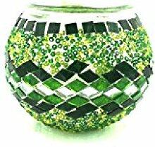 Handgefertigte Orientalisch Türkisch Asiatisch Mosaik Kerzenhalter Kerze Teelicht Glas Lampe Kerze Teelichthalter Kerzenhalter (Grün-Welle)
