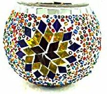 Handgefertigte Orientalisch Türkisch Asiatisch Mosaik Kerzenhalter Kerze Teelicht Glas Lampe Kerze Teelichthalter Kerzenhalter (Blau-Gold)
