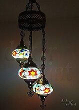 Handgefertigte Orientalisch Türkisch Mosaik Glas Hänge Lampe Innenleuchte Pendelleuchte Deckenleuchte Aussenleuchte Handarbeit Hängeleuchte Hängelampe 3 Lichter Glasgröße 2 (Bunt-Lila-Orange)