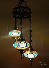 Handgefertigte Orientalisch Türkisch Mosaik Glas Hänge Lampe Innenleuchte Pendelleuchte Deckenleuchte Aussenleuchte Handarbeit Hängeleuchte Hängelampe 3 Lichter Glasgröße 2 (Bunt-Muster)