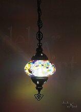 Handgefertigte Orientalisch Türkisch Mosaik Glas Hänge Lampe Innenleuchte Pendelleuchte Deckenleuchte Aussenleuchte Handarbeit Hängeleuchte Oange-Rot Glasgröße 2 … (Bunt-Lila)