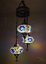 Handgefertigte Orientalisch Türkisch Mosaik Glas Hänge Lampe Innenleuchte Pendelleuchte Deckenleuchte Aussenleuchte Handarbeit Hängeleuchte Hängelampe 3 Lichter Glasgröße 3 (Bunt-Silber)