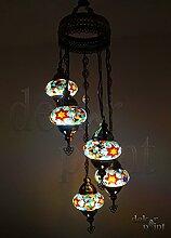 Handgefertigte Orientalisch Türkisch Mosaik Glas Hänge Lampe Innenleuchte Pendelleuchte Deckenleuchte Aussenleuchte Handarbeit Hängeleuchte Hängelampe 5 Lichter Glasgröße 2 (Bunt-Lila-Orange)