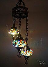 Handgefertigte Orientalisch Türkisch Mosaik Glas Hänge Lampe Innenleuchte Pendelleuchte Deckenleuchte Aussenleuchte Handarbeit Hängeleuchte Hängelampe 3 Lichter Glasgröße 2 (Bunt ohne Stern)