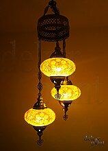 Handgefertigte Orientalisch Türkisch Mosaik Glas Hänge Lampe Innenleuchte Pendelleuchte Deckenleuchte Aussenleuchte Handarbeit Hängeleuchte Hängelampe 3 Lichter Glasgröße 3 (Orange)