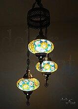 Handgefertigte Orientalisch Türkisch Mosaik Glas Hänge Lampe Innenleuchte Pendelleuchte Deckenleuchte Aussenleuchte Handarbeit Hängeleuchte Hängelampe 3 Lichter Glasgröße 3 (Bunt)