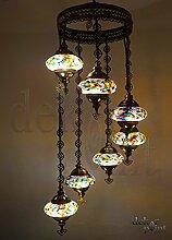 Handgefertigte Orientalisch Türkisch Mosaik Glas Hänge Lampe Innenleuchte Pendelleuchte Deckenleuchte Aussenleuchte Handarbeit Hängeleuchte Hängelampe 7 Lichter Glasgröße 2 (Bunt-Lila)