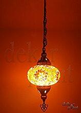 Handgefertigte Orientalisch Türkisch Mosaik Glas Hänge Lampe Innenleuchte Pendelleuchte Deckenleuchte Aussenleuchte Handarbeit Hängeleuchte Glasgröße 3 Silber … (Orange-Lila)