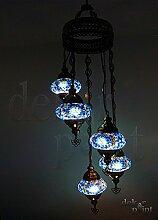 Handgefertigte Orientalisch Türkisch Mosaik Glas Hänge Lampe Innenleuchte Pendelleuchte Deckenleuchte Aussenleuchte Handarbeit Hängeleuchte Hängelampe 5 Lichter Glasgröße 2 (Blau)