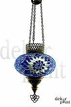 Handgefertigte Orientalisch Türkisch Mosaik Hänge Lampe Innenleuchte Hängeleuchte Pendelleuchte Deckenleuchte Aussenleuchte Handarbeit Glas Hänge Teelichthalter Kerzenhalter Bunt-Gelb Glasgröße 3 (Blau-Silber)