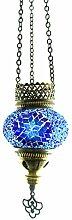 Handgefertigte Orientalisch Türkisch Mosaik Hänge Lampe Innenleuchte Hängeleuchte Pendelleuchte Deckenleuchte Aussenleuchte Handarbeit Glas Hänge Teelichthalter Kerzenhalter Bunt-Stern Glasgröße 1 (Blau)