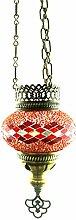 Handgefertigte Orientalisch Türkisch Mosaik Hänge Lampe Innenleuchte Hängeleuchte Pendelleuchte Deckenleuchte Aussenleuchte Handarbeit Glas Hänge Teelichthalter Kerzenhalter Bunt-Stern Glasgröße 1 (Rot)