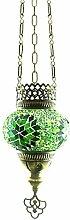 Handgefertigte Orientalisch Türkisch Mosaik Hänge Lampe Innenleuchte Hängeleuchte Pendelleuchte Deckenleuchte Aussenleuchte Handarbeit Glas Hänge Teelichthalter Kerzenhalter Bunt-Stern Glasgröße 1 (Grün-Stern)