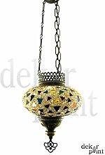Handgefertigte Orientalisch Türkisch Mosaik Hänge Lampe Innenleuchte Hängeleuchte Pendelleuchte Deckenleuchte Aussenleuchte Handarbeit Glas Hänge Teelichthalter Kerzenhalter Bunt-Gelb Glasgröße 3 (Bunt-Gelb)