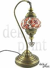 Handgefertigte Orientalisch Türkisch Tisch Lampe Innenleuchte Nachttischlampe Beistelllampe Handarbeit Mosaik Glas Tischlampe Bogenlampe Glasgröße 2 (Orange-Silber)