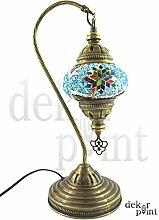 Handgefertigte Orientalisch Türkisch Tisch Lampe Innenleuchte Nachttischlampe Beistelllampe Handarbeit Mosaik Glas Tischlampe Bogenlampe Glasgröße 2 (Blau-Rot-Silber)
