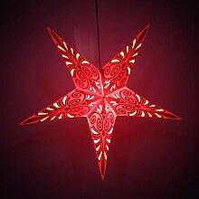 Handgefertigte Papierlampe mit roten Sternen für